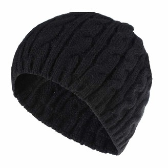 Yivise Womens Girls Winter Warm Casual Knitted Caps Hemming Hat Skull Beanie Stretch Slouchy Ski Hat(Black)