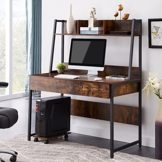 Inbox Zero Home Office with Hutch/Bookshelf Desk Color: Distressed Brown
