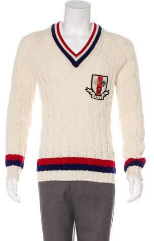 Gucci 2017 Cable Knit Crest Wool Sweater