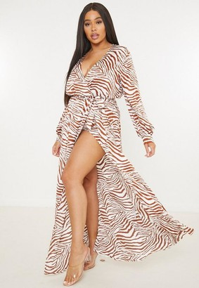 Missguided Plus Size Brown Zebra Print Plunge Neck Maxi Dress