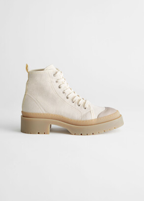 And other stories Chunky Canvas Lace Up Boots
