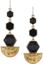 House of Harlow Black Hexagon Drop Earrings