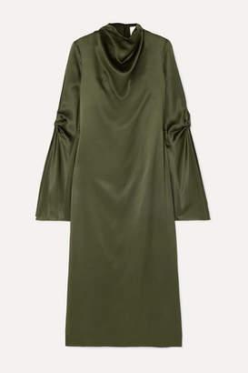 Dion Lee Cold-shoulder Draped Mulberry Silk-satin Midi Dress - Green