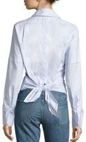 Helmut Lang Cotton Poplin Tie-Back Tuxedo Shirt
