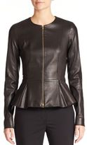 The Row Anasta Leather Peplum Jacket
