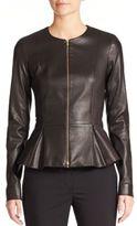 The Row Anasta Leather Peplum Jacket
