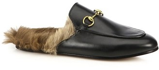Gucci Princetown Fur-Lined Leather Slipper