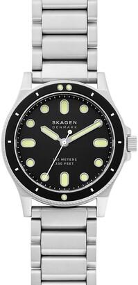 Skagen Men's Fisk 3-Hand Silver-Tone Stainless Steel Watch, 42mm