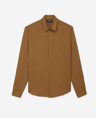 The Kooples Flowing satin-effect khaki shirt