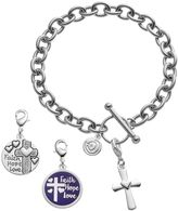 "Love this life Silver Plated Crystal ""Faith Hope Love"" Cross Charm & Bracelet Set"