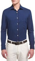 Kiton Solid Long-Sleeve Twill Sport Shirt, Navy