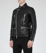Reiss Reiss Rod - Leather Biker Jacket In Black
