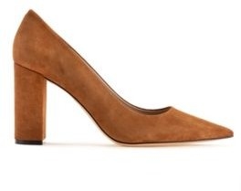 HUGO BOSS Italian-suede pumps with square heel and pointed toe