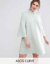 Asos Pearl Shift Mini Dress With Fluted Sleeve