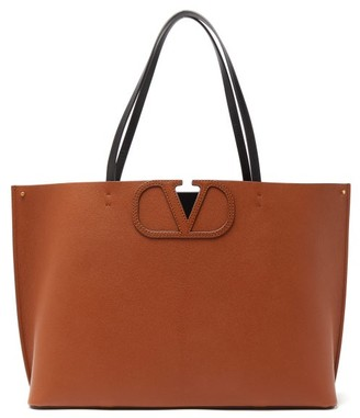 Valentino V-logo Large Grained-leather Tote Bag - Womens - Brown