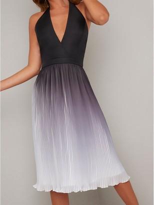 Chi Chi London Amabelle Halter Neck Pleated Skirt Midi Dress - Black
