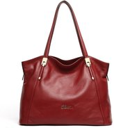 Cluci Leather Handbags Designer Tote Satchel Shoulder Bag Purse for Women Wine Red