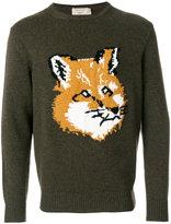 MAISON KITSUNÉ fox embroidered sweatshirt - men - Lambs Wool - S