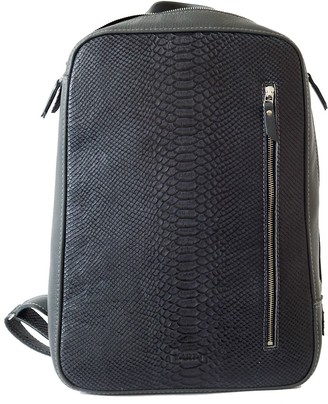 Natural Leather Unisex Backpack ''Marjoram'' Grey/Reptile Grey