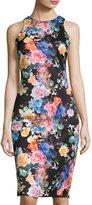 Neiman Marcus Sleeveless BodyCon Floral-Print Dress, Multi
