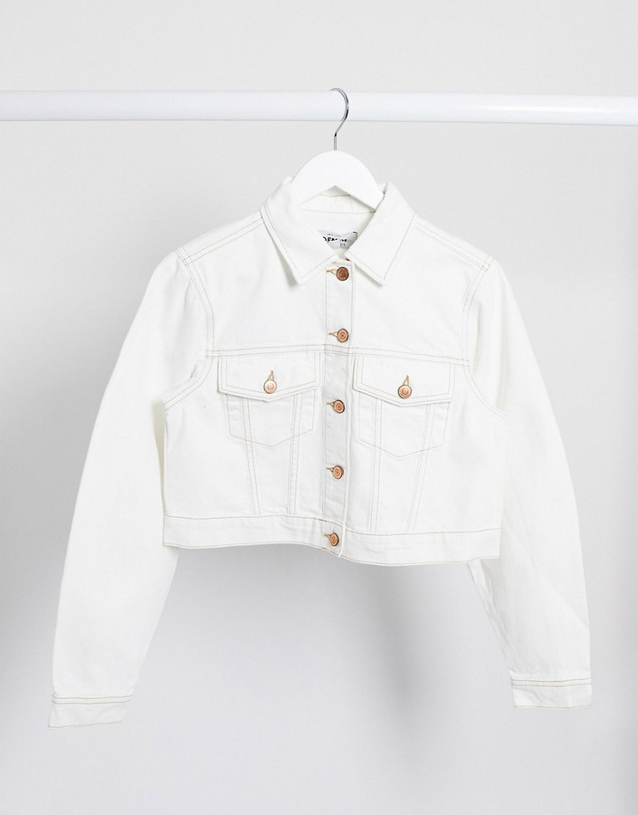 New Look cropped denim jacket in off white