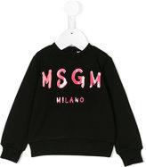MSGM logo print buttoned sweatshirt