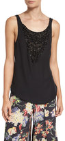 Haute Hippie Casino Embellished Silk Tie-Back Blouse, Black
