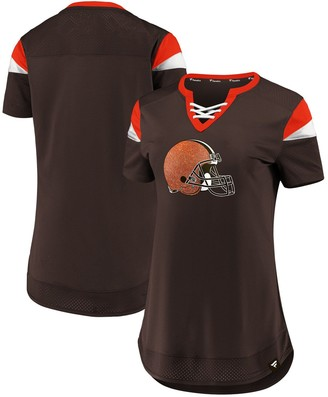 Women's NFL Pro Line by Fanatics Branded Brown Cleveland Browns Draft Me Lace-Up T-Shirt