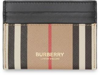 Burberry Icon Stripe E-Canvas & Leather Card Case