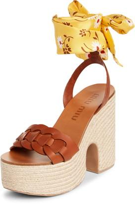 Miu Miu Ankle Tie Platform Sandal
