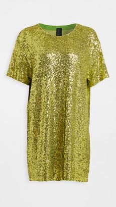 Norma Kamali Overlapping Sequin Boxy Dress
