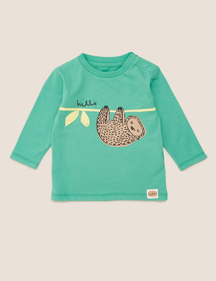 Marks and Spencer Organic Cotton Sloth Print Top (0-3 Yrs)