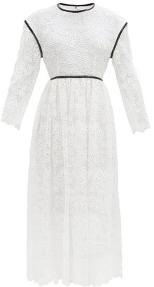 Christopher Kane Faux Leather-trim Broderie Anglaise Midi Dress - White