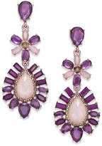 INC International Concepts Rose Gold-Tone Purple Stone Double Drop Earrings, Created for Macy's