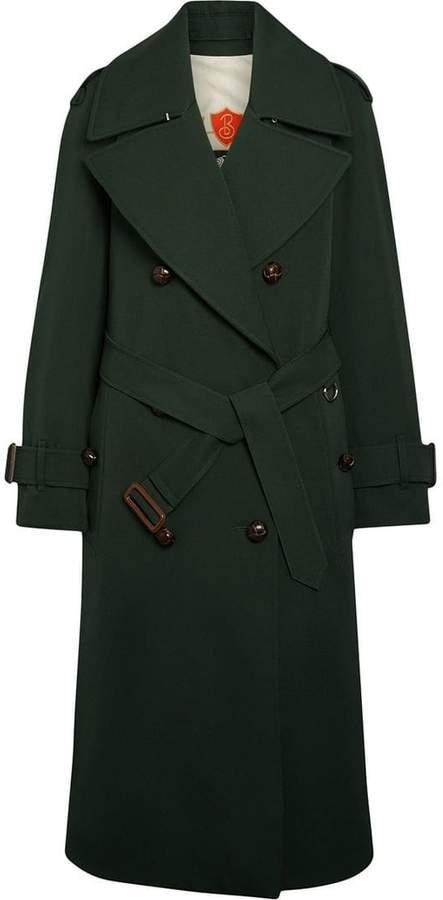 Burberry Oversized Lapel Wool Gabardine Trench Coat