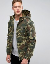 Pull&Bear Parka In Camo With Hood