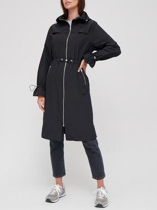 Very Longline Shower Resistant Coat - Black