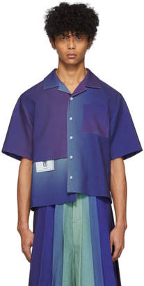 Keenkee Purple Gradient Panel Short Sleeve Shirt
