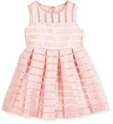 Milly Minis Sleeveless Pleated Sheer Stripe Dress, Size 4-7