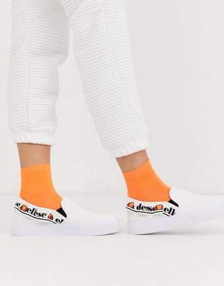 Ellesse upega logo slip on sneakers in white