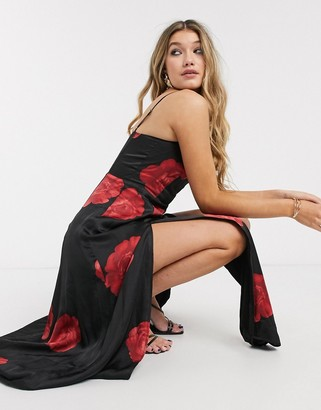 Capulet dalia maxi satin slip dress with slit in rose print