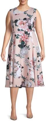 Calvin Klein Collection Plus Floral Fit & Flare Dress