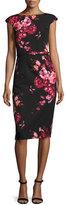 David Meister Cap-Sleeve Belted Floral Sheath Dress, Red/Black