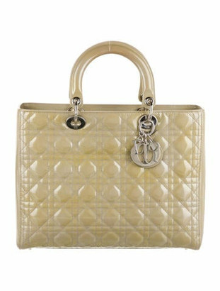 Christian Dior Large Lady Bag w/ Strap Silver