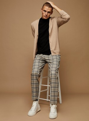 Topman Neutral Check Skinny Joggers