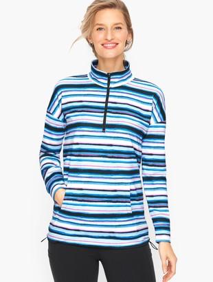 Talbots On The Move Watercolor Stripe Half Zip Pullover