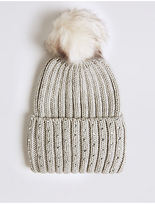 M&S Collection Cable Knit Pom Hat