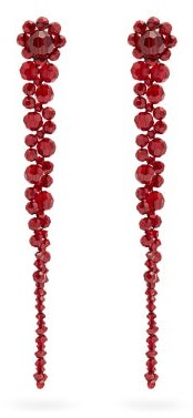 Simone Rocha Drip Crystal-embellished Earrings - Red