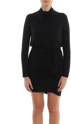MICHAEL Michael Kors Matte Black Jersey Draped Dress