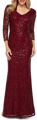 BLU SAG HairE Blu Sage 3/4 Sleeve Sequin Lace Evening Gown